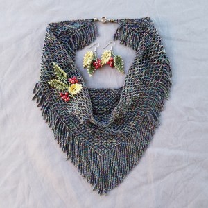 Beaded Scarf with Berries
