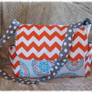 Missy Messenger Diaper Bag Chevron Handbad Tote Orange Blue Gray Medallion Crossbody Adjustable Strap Ready to Ship