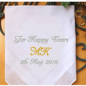 Embroidered Happy Tears Handkerchief, Customized personalised personalized Hankies Wedding Gift