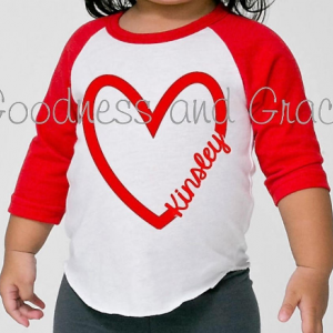 Heart Raglan with Free Personalization - Valentine's Day Shirt or Gift That's Perfect for Every Day!