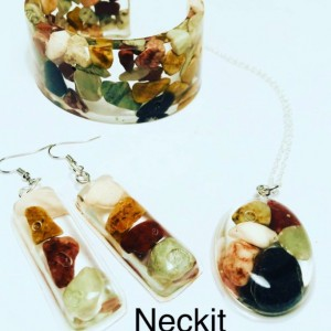 Rocks in Resin Cuff Bangle Earrings and Necklace Set
