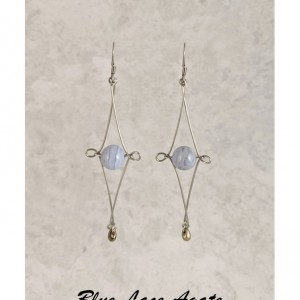 The Victoria | handmade Celtic knot-inspired bead drop earrings, Czech glass, stainless steel wire, frosted glass, gemstone, Gifts for Her