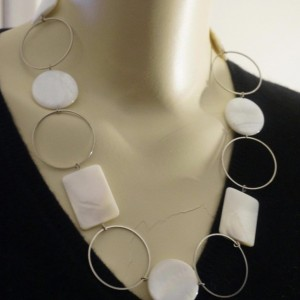 Limited Edition Mother of Pearl Geometric Chain Runway Necklace