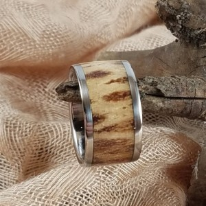 Size 6 3/4+ Stainless Steel and pinecone center ring, 11 mm Stainless Steel  core surrounded by stabilized pine cone center, Stainless edges