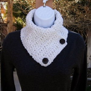 Women's Lightweight Winter Neck Warmer Scarf, Extra Soft Acrylic Solid White Buttoned Cowl with Two Brown Wood Buttons, Ships in 3 Biz Days