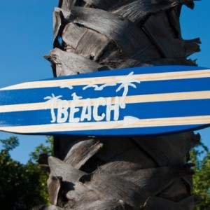 Beach - Hanging Wooden Surf Board Sign