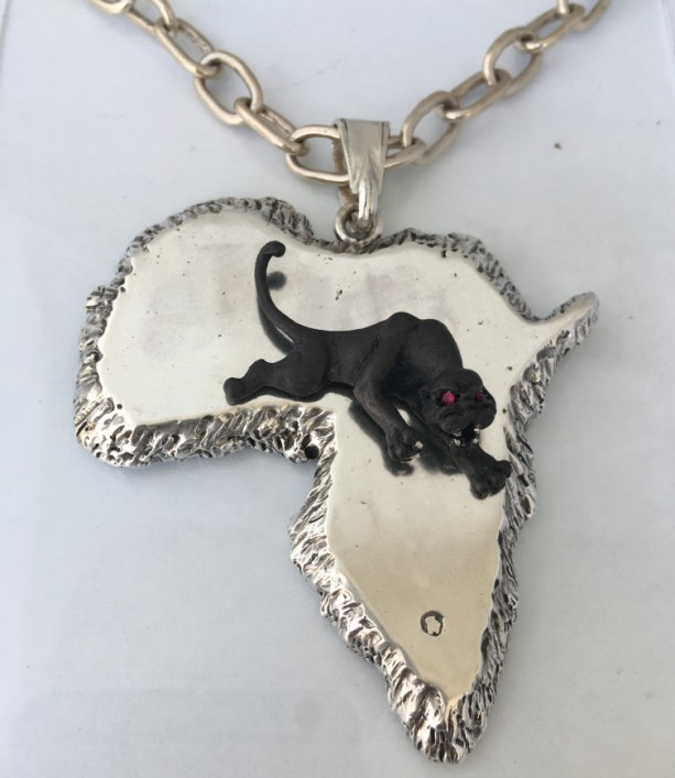 Black Panther Out of Africa Pendant sterling silver