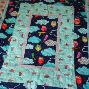 Modern baby owl quilt: grey and navy