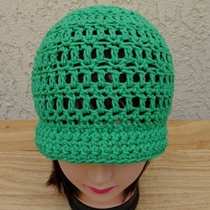 Solid Green Summer Beach Sun Hat with Brim, 100% Cotton Lacy Cloche, Women's Crochet Knit Beanie, Bucket Chemo Cap, Ready to Ship in 3 Days