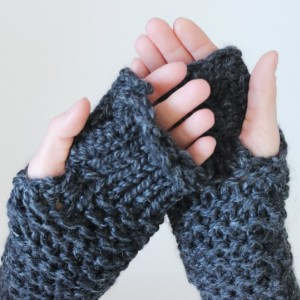 Wool Thick-Knit Fingerless Mittens - Made to Order