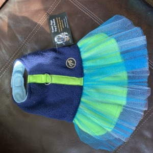 "XXS Blue Green Stripe Tutu 13-14"" girth"