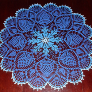 """Stunning Real Handmade Crochet Tablecloth-Doily, BLUE colors, Round, 36"""", 100% Cotton, US FREE shipping"""