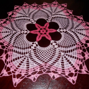 """Lovely Handmade Crochet Tablecloth Doily, PINK Colors, Round, 23.5"""", 100% Cotton"""