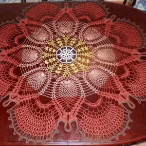 """Stunning Real Handmade Crochet Tablecloth Doily, """"Reacock Tail"""", Round, 47"""", BROWN/YELLOW colors, 100% Cotton"""