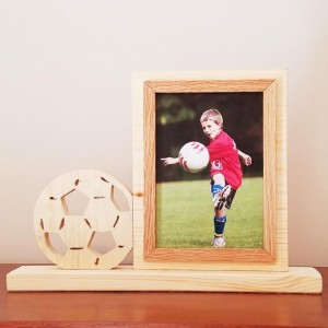 Personalized 4 x 6 Picture Frame with Carved Soccer Ball, Customized Soccer Ball Photo Frame
