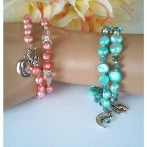 Baby of Mine ~ Mommy-to-Be / New Mom Pearl Bracelet Set of 2 ~ Unique New Mom Bracelet Jewelry ~ Expectant Mom Pink Blue Gift ~ Gift for Her