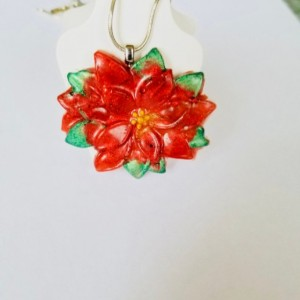Red poinsettia pendant (chain not included), Christmas Jewelry, Christmas Pendant