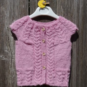 Alpaca Hand Knit Vest, Knit Baby Girl Vest, Baby Girl  Sleeveless Sweater, Alpaca Pink Vest,  Baby Girl 6-9 months,  Sleeveless Sweater