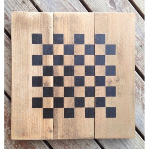 Hand Stenciled Checkerboard, On Vintage Cedar Pickets