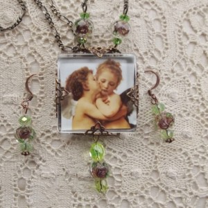 First Kiss Angel Cupid Victorian Filigree Necklace Earring Set