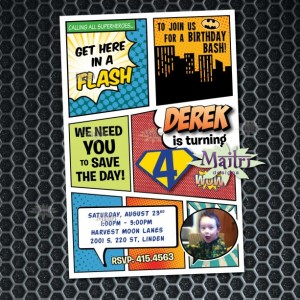 Comic Book Superhero Birthday Invitation