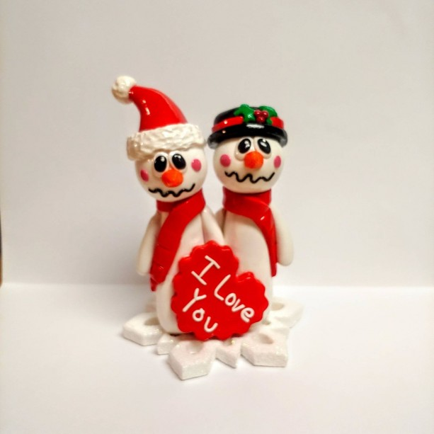 Polymer Clay, Christmas, Keepsake, Snowman Couple, I Love You, One of a Kind, Unique Gift