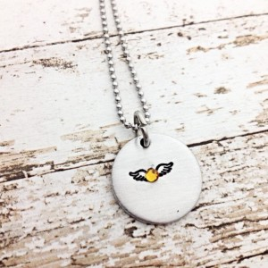 Infant loss necklace, memorial jewelry, remembrance necklace, angel wings, hand stamped necklace