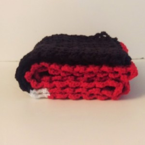 Black, White, Red Scarf, Cozy, Warm, Unisex, Handmade in USA