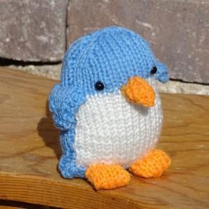 Penguin, Blue Toy, Stuffed  Penguin, Small Toy, Hand Knitted Toy, Plush Penguin, Baby Toy