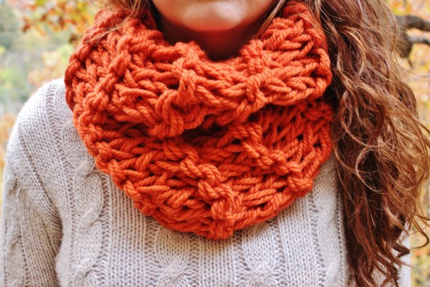 Pumpkin Orange Knitted Chunky Circle Scarf With Double Knit Loop