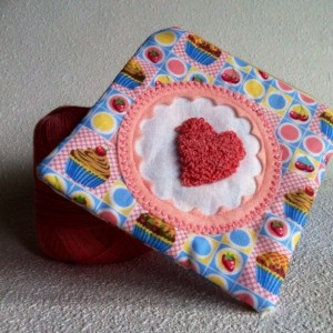 Cupcake love zipper pouch with needle punch embroidery