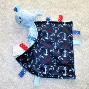 Personalized anchor lovey with attached whale toy, unique baby/ toddler gift, AKA security blanket- lovie -lovy -small blankie