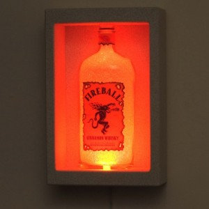 Fireball Whiskey Shadowbox Wall Mount or Tabletop Color Changing Bottle Lamp Bar Light  LED Remote Controlled Eco Friendly