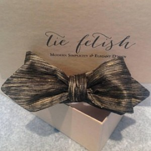 Black and gold stripe dupioni silk bow tie freestyle or pre tied
