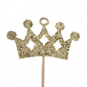 Gold Princess Crown Cupcake Toppers - Set of 12, 1-Sided