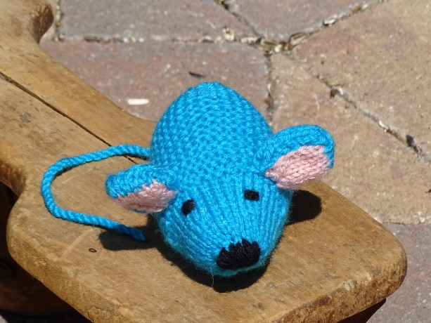 Mouse, Knitted Mouse, Blue Baby Toy, Stuffed Animal, Small Toy, Free Shipping