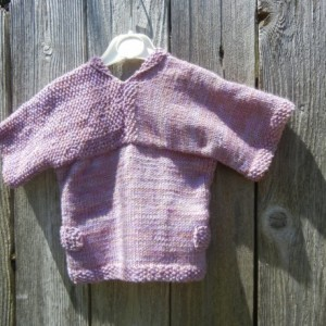 Merino Wool Knit Sweater, Hand Knit Cardigan, Modern Pattern Cardigan for Baby Girl 9-12 mo, Pink Mauve Knitted Sweater