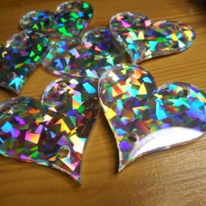 Holographic,laser cut hearts,laser cut charms,holographic