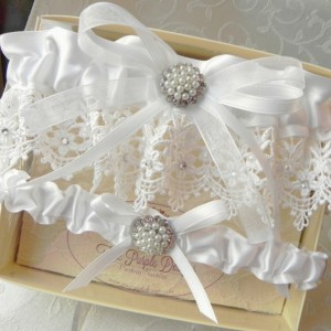 White Satin & Venise Lace Garter Set with Swarovski Crystals