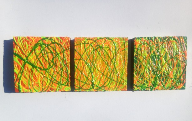 Triptych Abstract Contemporary Art Painting ORIGINAL- 9x9x1.5 Each Wood Panel Raised Paint by Anthony Saldivar Three Piece Art