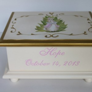 Bunnies In The Garden Baby Keepsake Memory Box personalized baby gift
