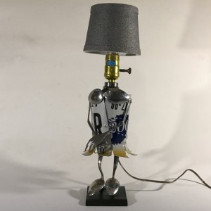 Mrs. Plate Assemblage Lamp Robot by Jeffery Weatherford