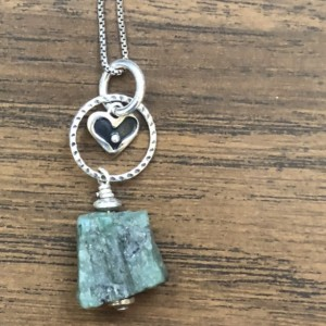 Sterling silver pendant with rough cut emerald and sterling silver heart and findings