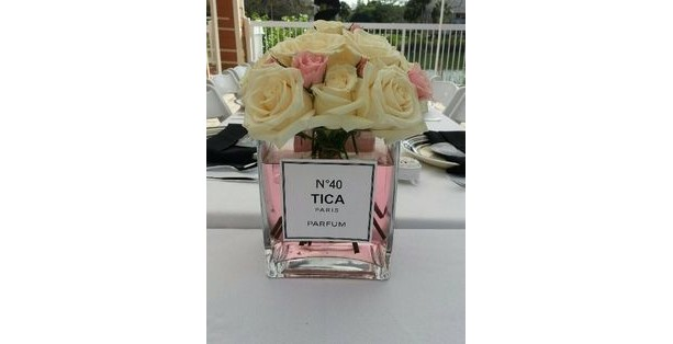 Coco Chanel Inspired Perfume labels 3 inch Square Personalized with name and Chanel number Set of 6