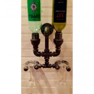 Wine Rack, Liquor Bottle Rack, constructed of industrial black Iron pipe,  Steampunk, Man Cave, Home Bar !!SALE!!