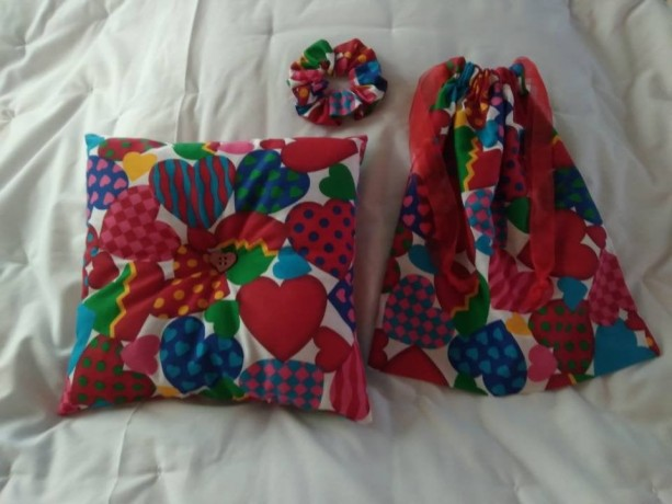 Valentines Day Gift Set for Her, Reusable Cloth Gift Bag, Cute Handmade Pillow, Drawstring Bag, Everything Handmade, Handsewn Scrunchie