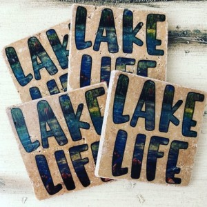 Lake Life Coasters Nautical Coasters Natural Stone Set of 4 Table Coasters
