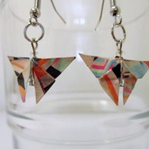 Upcycled butterfly origami earrings - geometric print – recycled – repurposed – green – eco friendly  – upcycled paper – Limited Edition