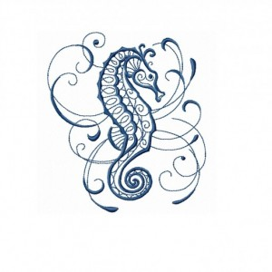 PAIR hand towels - intricate ink seahorse -  15 x 25 inch for kitchen / bathroom MORE COLORS affordable accents