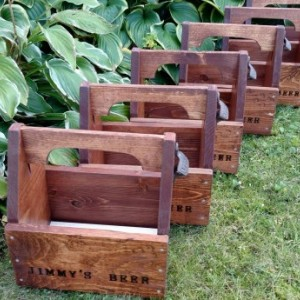 Groomsmen Gift Set of 6 Personalized Rustic Beer Carriers - Beer caddy with opener and free freezable insert - Bottles